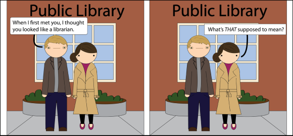 librarian, stereotype, library
